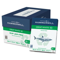 Hammermill Recycled Great White Copy Paper, 8 1/2'' x 11'', 50% PCR, Carton