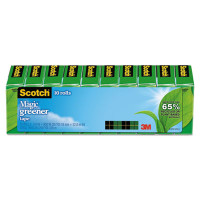 """Scotch - Magic Greener Tape, 3/4"""" x 900"""", 1"""" Core, Clear, 10/Pack"""