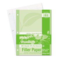 Pacon Ecology Filler Paper, 8-1/2 x 11, College Ruled, 3-Hole Punch, WE, 450 Sheets