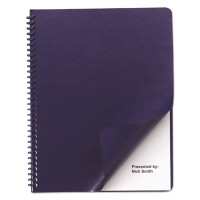 GBC Leather Look Binding System Covers, 11-1/4 x 8-3/4, Navy, 100 Sets/Box