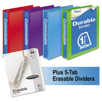"Mead Durable D-Ring View Binder Plus Pack, 1 1/2"" Cap, Assorted Colors, 4/Carton"