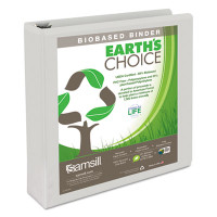 "Samsill Earth's Choice Biobased Round Ring View Binder, 1 1/2"" Capacity, White, 2 pack"