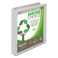 "Samsill Earth's Choice Biobased Round Ring View Binder, 1"" Capacity, White, 3 pack"