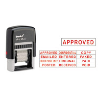 Self-Inking Stamps, 12-Message, Self-Inking, 1 1/4 x 3/8, Red