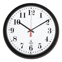 "Chicago Lighthouse Industries Black Quartz Contract Clock, 13-3/4"", Black"
