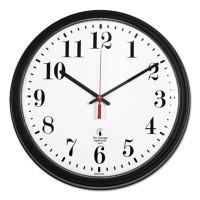 "Chicago Lighthouse Industries Black Quartz Contract Clock, 13-3/4"", Black"