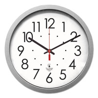 "Chicago Lighthouse Industries Quartz Flat Rim Clock, 14-1/2"", Silver"