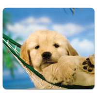 Fellowes Recycled Mouse Pad, Nonskid Base, 9 x 8 x 1/16, Puppy in Hammock