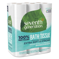 Seventh Generation 100% Recycled Bathroom Tissue, 2-Ply, White, 240 Sheets/Roll, 24/Pack