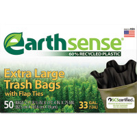 Earthsense Large Trash Bags, 33gal, .75mil, 32.5 x 40, Black, 50 Bags/Box