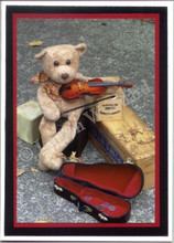 Handmade Hobo Bear Violin Card