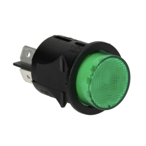 Green Bipolar Switch DPST Circular 25mm OD 16A 250V