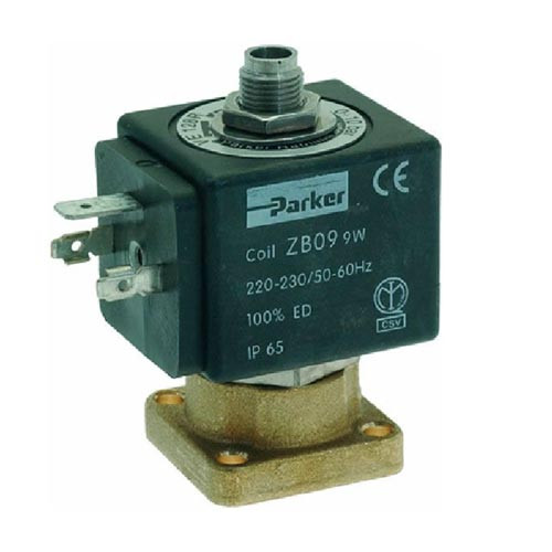 Parker 3-way Solenoid Flat Base 230V Countersunk Outlet