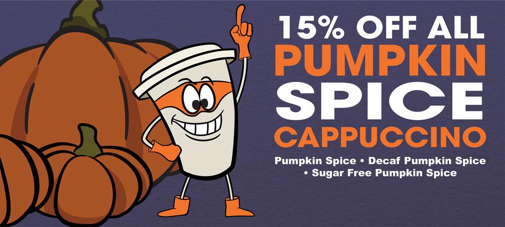 15% off all Cappuccino Supreme Pumpkin Spice Cappuccino Mixes