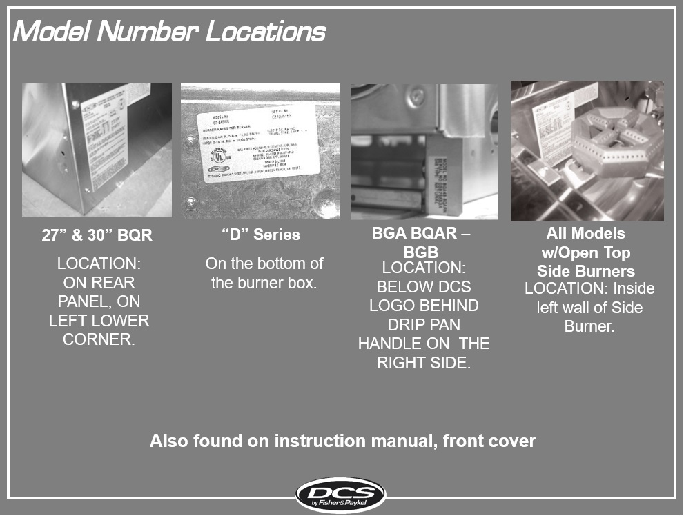 Where to locate your DCS model and serial number