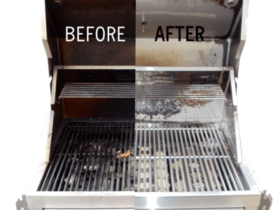 Before and after cleaning a grill