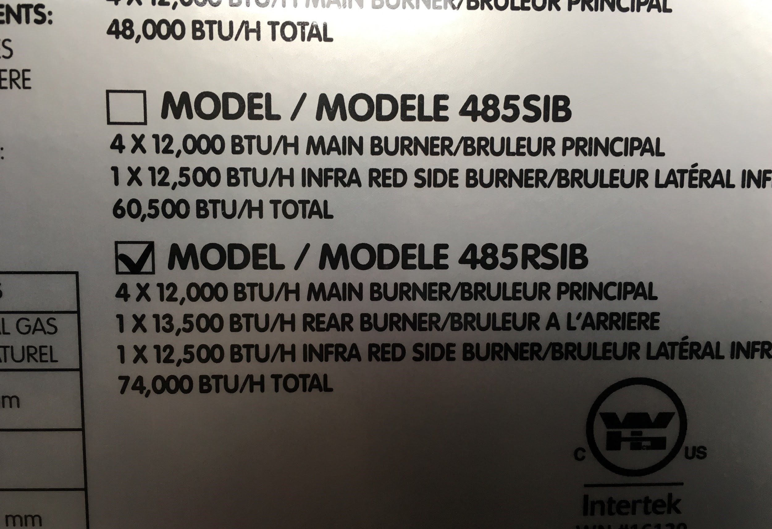 BTU Rating Information Sticker on a Napoleon Gas Grill