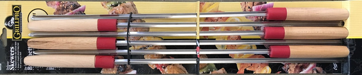 "6 Deluxe Chrome Plated 22"" Shish-ke-bab Skewers w/ Wooden Handles"