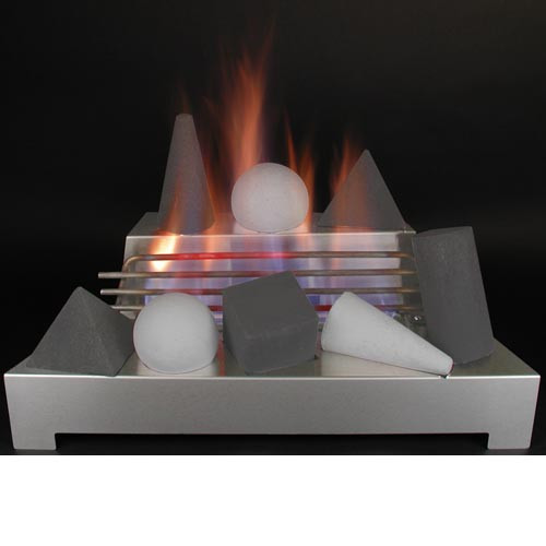 "24"" Alterna FireShape Series | Black/Light Grey | Burner Set SS Remote Control"