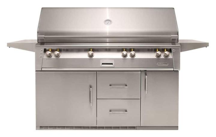 "Alfresco ALXE 56"" Grill, Sear Burner on Refrigerated Cart"