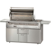 Alfresco 56-in Deluxe Grill Cart w Sear Zone, Side Burner