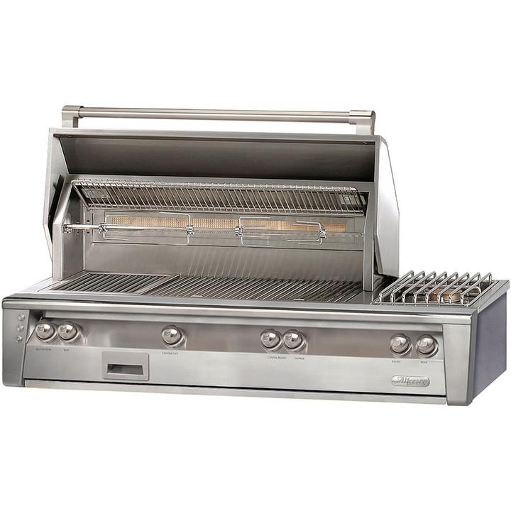 """Alfresco 56"""" Deluxe Built-in Grill w Sear Zone, Double Side Burner"""