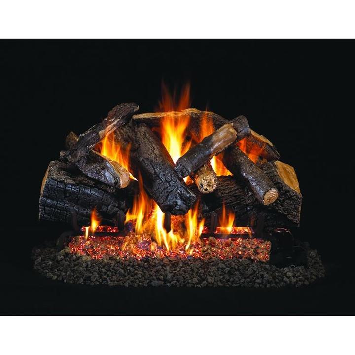 """Real Fyre 24"""" Charred Majestic Oak Log Set, Stainless G45 Burner"""