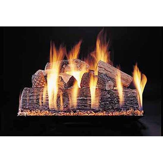 18-in Lone Star Double Face Log Set | Custom Embers Pan Burner | Match Light