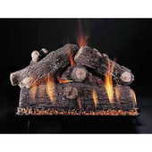 18-in Prestige Oak Double Face Log Set | Custom Embers Pan Burner | Match Light