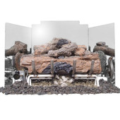 """Real Fyre 24"""" 3-Panel Contemporary Polished Stainless Fireback - FBCP-24"""