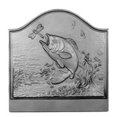 Large Mouth Bass Victorian Hearth Cast Iron Fireback