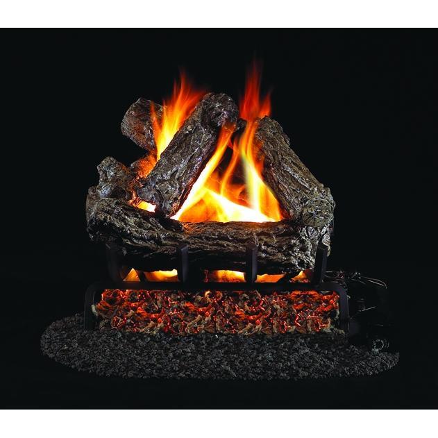 Rustic Oak Vented Gas Log Set