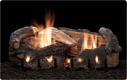 Stacked Age Oak gas log set