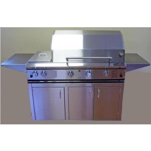 """ProFire 48"""" Hybrid Grill with Double Side Burner on Stainless Cart"""