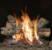"24"" Classic Charred Oak Vented See-Thru Natural Gas Logs, Safety Pilot"