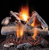 "24"" Elegant Charred Split Oak Vented See-Thru Natural Gas Logs"