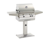 Fire Magic Aurora A430S Grill w Rotisserie on Patio Post