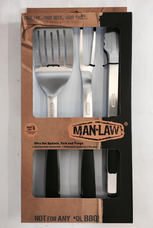Man Law BBQ 3 piece Tool Set