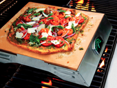 Man Law Pizza Stone w S.S. Rack & Thermometer