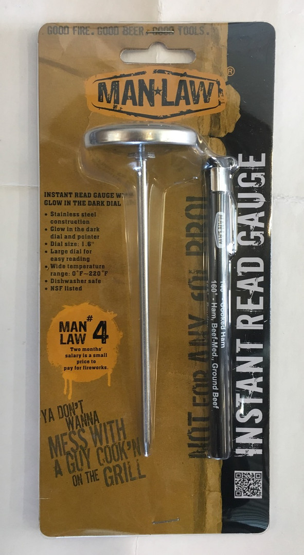 Man Law BBQ Instant Read Thermometer with Glow in the Dark Dial