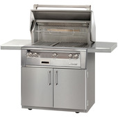 Alfresco ALXE 36-in grill on a stainless steel cart