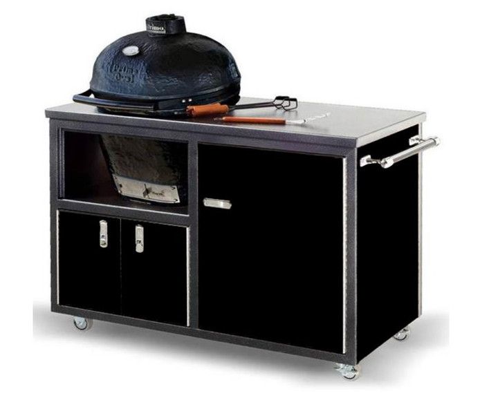 """Challenger 48"""" Black with Silver Vein Primo JR Grill Cart"""