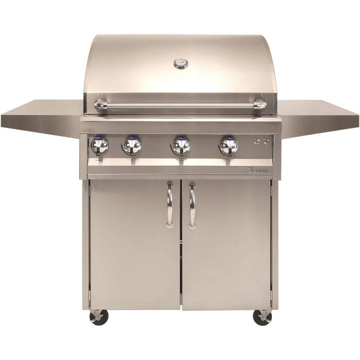 "Artisan 32"" 3 Burner Grill with Rotisserie, Light & Cart"
