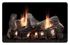 """24"""" Sassafras Gas Logs & Burner Slope Glaze Burner Variable Remote Control"""