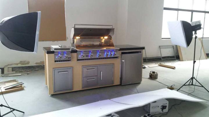 """Bonfire 42"""" 5 burner BBQ Island with Double side burner, Refrigerator"""