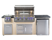 "Bonfire 401 34"" 4 Burner Grill Island, Double Side Burner, Trash, Refrigerator"