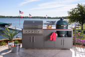 """Delta Heat Challenger Coastal 82"""" Outdoor Kitchen Package with Large Egg Base"""