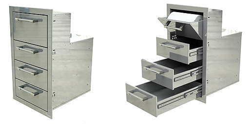 """Alfresco 17"""" Towel Holder with Three Drawers - AXE-3DRTH"""