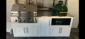 """Challenger Designs White Coastal Outdoor Kitchen Package with Delta Heat 32"""" Grill and Large Egg Base - 17COGI-83-GDK"""