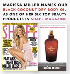 MARISSA MILLER NAMES OUR BLACK COCONUT DRY BODY OIL AS ONE OF HER SIX TOP BEAUTY PRODUCTS IN THE FEBRUARY ISSUE OF SHAPE MAGAZINE